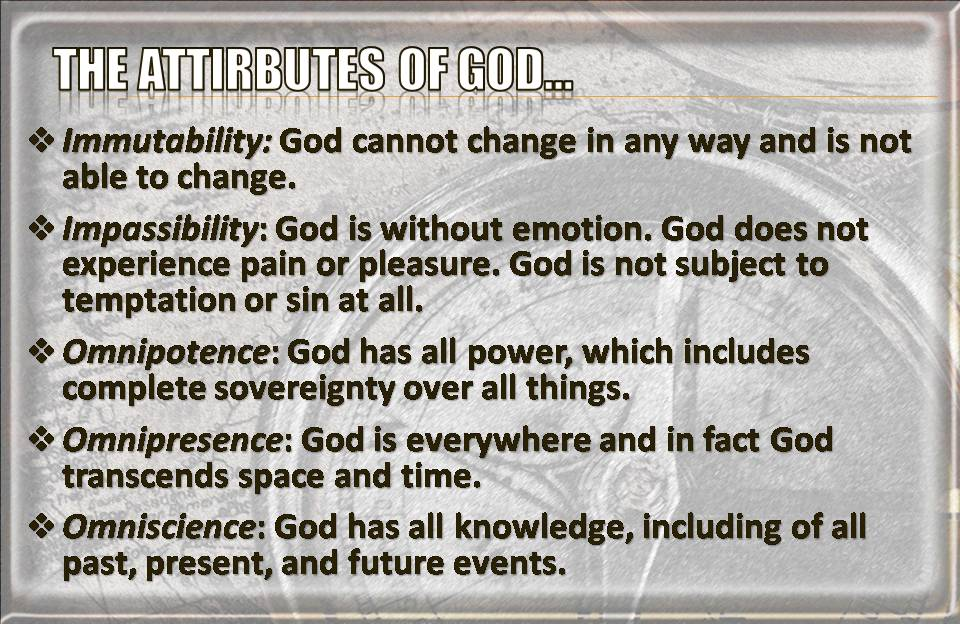 "a discussion on the attributes of god Question: what does it mean that god is a god of justice answer: justice is a term used for what is right or ""as it should be"" justice is one of god's attributes and flows out of his holiness."