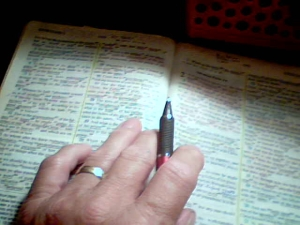 My BIble and Hand and Pen